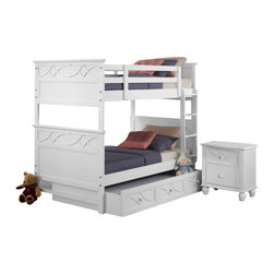 Homelegance - Homelegance Sanibel 4-Piece Bunk Bed Kids' Bedroom Set in White - As breezy as a day at the beach, the modern cottage styling of the Sanibel collection will meld effortlessly with your casual personal style. Diamond overlay curves throughout the entire collection - capping the headboard then carrying on to the gracefully bowed case pieces. The versatility of the design lends to the perfect placement in a master suite, guest or child's bedroom. The collection is offered in Black or White.