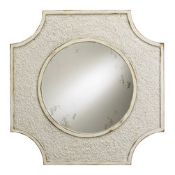 Currey and Company - Endsleigh Mirror - Elegant mirror with clean lines in a natural and antique white finish. The frame is enhanced by crushed shells.