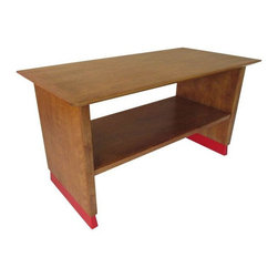 Pre-owned Mid-Century Wooden Work Table - A vintage Mid-Century work table. The table has been newly stripped and re-finished. The base is newly painted in ''safety red''.