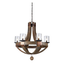 "Artcraft Lighting - Copper Metal 6 Light ChandelierHockley Collection - The Jo Alcorn ""Hockley"" collection features authentic pine as its beautiful frame."