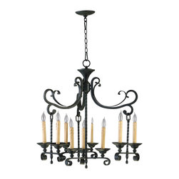 Kathy Kuo Home - Surrey Old English Wrought Iron European Style 9 Light Chandelier - The most refined techniques of ironwork are expressed beautifully in this traditional chandelier.  Elegantly curved arm blend seamlessly with a twisted base to highlight nine wax effect candles.  A classic traditional English style suitable to traditional and eclectic homes.