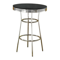 Coaster - Coaster Cleveland 1950's Soda Fountain Pub Table with Black Top - Coaster - Pub Tables - 2405 -  Go back in time with the fun and distinctive styling of the Cleveland collection. Retro chrome plated tables chairs and bar stools create a unique 1950's diner appeal. With a number of different looks the Cleveland collection will make a wonderful addition to your pub room game room or casual dining spaces. Rewind time and create an entertaining dining experience with the retro designs of this 50's soda fountain bar table. The round top in a black finish rippled chrome rim and chrome single pedestal compose a distinctive look. Pair with the coordinating chrome plated pub stools for a complete 1950's diner appeal! Features: