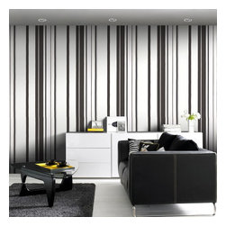 Graham & Brown - Hoppen Stripe Wallpaper - Stripes are a really effective way to create a bespoke look as they can be hung either horizontally or vertically depending on your desire to create either width or height, this structured stripe features metallic elements for a sophisticated finish, the linen effect infill also helps to disguise any wall imperfections so no matter what style of house you live in you can create the Kelly Hoppen look. This black and white striped wallpaper design co-ordinates perfectly with the linen texture design so you can create your individual look.