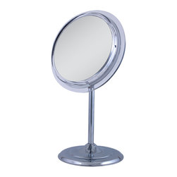 Zadro - 5x Surround Vanity Mirror - The 5X Surround Light Vanity Mirror features optical quality glass to ensure a clearer reflection of your true self. The 5X magnification is great for viewing up close in detail while still allowing you to see your entire face. To adjust the height, simply twist the pedestal to loosen and telescope to the desired height up to 22 inch tall.  Surround Light technology amplifies light across the entire mirror face for an even light dispersion and shadow-free reflection. The super-bright fluorescent light recreates the effects of natural sunlight for a softer, more refreshing glow.  One Surround Light bulb is included.  Dimensions: 9.5 inch width x 16 inch height x 7 inch diameter.