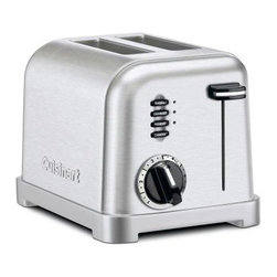Cuisinart CPT-160 2 Slice Classic Metal Toaster - The Cuisinart CPT-160 2 Slice Classic Metal Toaster is the perfect toaster for everyday use in any kitchen. This toaster features two-slice capacity and has extra-wide 1.5-inch slots for larger slices of bread or bagels. A six-setting browning control knob high-rise carriage and slide-out crumb tray give you all the convenience of more expensive models at a reasonable price. This toaster also features button controls for reheat defrost and bagel and has LED indicator lights that keep you posted on the status of your toast. Available in a choice of colors. Complete with a limited 3-year manufacturer's warranty.About CuisinartOne of the most recognized names in cookware and kitchen products Cuisinart first became popular when introduced to the public by culinary experts Julia Child and James Beard. In 1973 the Cuisinart food processor revolutionized the way we create fine food and healthy dishes and since that time Cuisinart has continued its path of innovation. Under management by the Conair Corporation since 1989 Cuisinart is a universally celebrated name in kitchens across the globe. With a full-service product line including bakeware blenders coffeemakers cookware countertop appliances kitchen tools and much much more Cuisinart products are preferred by chefs and loved by consumers for durability ease of use superior quality and style.