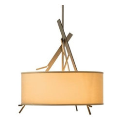 "Hubbardton Forge - Arbo Drum Pendant by Hubbardton Forge - Branch out. The Hubbardton Forge Arbo Pendant is an architecturally inspired reimagining of tree branches, set at opposing and complementary angles against the center stem. A few ""twigs"" peek out beneath the crisp drum-shaped shade, adding an angular counterpoint and providing continuity from the upper details while supporting the shade. Hubbardton Forge, headquartered in Hubbardton, Vermont, hand-forges simple and elegant metal lighting fixtures and accessories, combining ancient hand-forging techniques with environmentally-sound finishing practices."