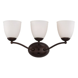 Nuvo Lighting - Nuvo Lighting 60-5133 Patton 3-Light Vanity Fixture with Frosted Glass - Nuvo Lighting 60-5133 Patton 3-Light Vanity Fixture with Frosted Glass