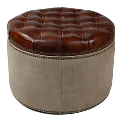 "Sarreid Ltd - English Chesterfield Ottoman by BSEID - Beautiful combined with a large upholstered chair or on its own for additional seating around a coffee table. Natural canvas wraps around a wood frame while a tufted leather cushion sits atop. Each are secured and neatly finished with brass tacks. (SAR) 25"" diameter x 17"" high"