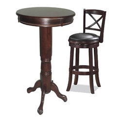 "Boraam - Georgia Three Piece Pub Set in Cappuccino - Features: -Pub Table. -Florence Collection. -Solid hardwood construction in cappuccino. -Classic pub-style pub table. -Frame features claw feet. -Floor protectors prevent scratches. -Dimensions: 42"" H x 30"" W x 30"" D. Stool Features: -Stool. -Georgia Collection. -Solid hardwood construction in cappuccino. -Black faux leather seat with high density foam. -Steel ball bearing. -Swivel for durability. -French leg with tampered bottoms. -Dimensions: 44"" H x 22"" W x 19"" D."