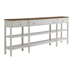 Stanley Furniture - Charleston Regency-Carolina Sofa Table - The lithesome profile of the Carolina Sofa Table grants it passage into most any room of the home. It features three drawers and two fixed shelves for storage.