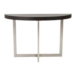 Euro Style - Oliver Console Table - Wenge/Brushed Stainless Steel - This is a very space efficient workstation. Epoxy coated steel in either a graphite/smoked look or in bright aluminum and frosted glass the L desk has room for all the necessities and all the niceties that make it comfortable, functional and space saving.