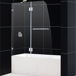 """BathAuthority LLC dba Dreamline - AquaLux Frameless Hinged Tub Door, 48"""" W x 58"""" H, Brushed Nickel - The aqualux tub door delivers European styling with a gracefully curved silhouette for a uniquely modern look. The perfect combination of impressive 5/16 in. Thick tempered glass and a flowing frameless design delivers the look of custom glass at a superior value. Make a splash with the striking yet elegant profile of the aqualux tub door."""