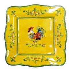 Le Cadeaux 11 in. Gallina Square Dinner Plate - Set of 4 - Don't get your feathers ruffled looking for that perfect dinner plate - you'll love the Le Cadeaux 11 in. Gallina Square Dinner Plate - Set of 2. These plates feature a vibrant rooster design over a yellow background - they'll make any meal a little more fun! Crafted of BPA-melamine, these two plates are dishwasher-safe.About Le CadeauxA subsidiary of Touch of Europe, Le Cadeaux specializes in beautiful melamine dishes, placemats, towels, and other kitchen necessities. With items from many countries including France, Italy, Great Britain, Sweden, and others, Le Cadeaux is sure to have just the piece to suit any taste.