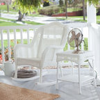 Coral Coast Casco Bay Resin Wicker Rocking Chair with Side Table - White - Nothing says tradition like the Coral Coast Casco Bay Resin Wicker Rocking Chair with Side Table - White. A perfect addition to your front porch this set is designed with your comfort and classic style in mind. It includes a rocking chair and handy end table both made of durable weatherproof resin wicker in a fresh white color that always looks inviting. The rocking chair has a smooth-rocking base contoured seat and comfortably curved arms and back plus includes the matching end table that's perfect for all the little things that make your day sweeter.