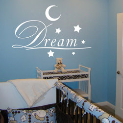 ColorfulHall Co., LTD - Kids Wall Decals Big Words Dream With Moon Wall Art Decals Lettering Alphabet - Kids Wall Decals Big Words Dream with Moon Wall Art Decals Lettering Alphabet