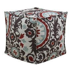Chooty & Co. - Chooty & Co. Suzani Nile Denton Seamed Beads Hassock Ottoman - BP17S3803 - Shop for Ottoman & Footstools from Hayneedle.com! Usually you turn to patterned throw pillows when you want to freshen up your seating area but the Chooty & Co. Suzani Nile Denton Seamed Beads Hassock Ottoman accomplishes the same task and gives you a soft spot to rest your feet. This unique 100% cotton fabric sports an oversized botanical pattern in red light blue and brown all on a peaceful neutral background. The casual cube design puts the pattern on center stage and is supportive enough for use as a footrest or even as additional seating for equally bold children. The removable zip cover can be spot-cleaned when needed.About Chooty & Co.A lifelong dream of running a textile manufacturing business came to life in 2009 for Connie Garrett of Chooty & Co. This achievement was kicked off in September of '09 with the purchase of Blanket Barons well known for their imported soft as mink baby blankets and equally alluring adult coverlets. Chooty's busy manufacturing facility located in Council Bluffs Iowa utilizes a talented team to offer the blankets in many new fashion-forward patterns and solids. They've also added hundreds of Made in the USA textile products including accent pillows table linens shower curtains duvet sets window curtains and pet beds. Chooty & Co. operates on one simple principle: What is best for our customer is also best for our company.