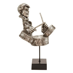 Benzara - Musician Statue with Silver Oxidized Finish - Give your young musician's room an ideal decorative appeal with this state of the art resin musician statue with drums. Your aspiring musician kid is going to treasure this piece of art lovingly. This piece of art features a maestro drummer playing it in the most relaxed and happy manner. Constructed with finesse in expression and appearance, this excellent resin musician statue with guitar can lift your mood. It will easily steal the attention of your visitors and impress them with your choice of home accessory. Created with sturdy resin material, this statue is embraced with a silver oxidized finish to enhance its appeal. It will give a peppy feel to your room interiors and lift the mood within your home. Featuring a top quality resin construction, it will give a long lasting and hassle-free performance for years to come..