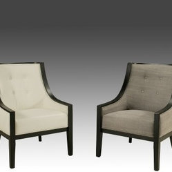Pastel Furniture Eurowayne Upholstered Club Chair with Kerkyra Wood Base