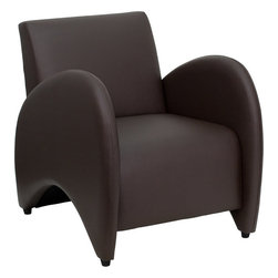 Flash Furniture - HERCULES Patrician Series Brown Leather Reception Chair - The Patrician Chair will make a dramatic statement in your waiting room area or office space. The curvaceous arms set this chair apart whether you only have one or are using multiple chairs placed next to each other.