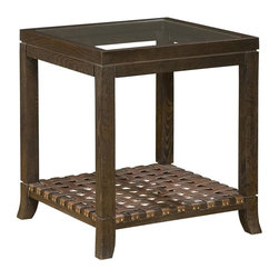 Hekman Furniture - Accents Side Table w Leather Straps - Square shape. Glass top. Leather on bottom shelf. Brass nailheads. Warranty: One year. Special reserve finish. 22 in. W x 22 in. D x 25 in. H