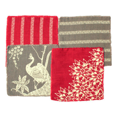 """Cricket Radio - Indochine Linen Cocktail Napkin Set, Red/Ivory & Stone/Ivory - Celebrate in classic Indochine style. These handprinted cocktail napkins will be there when you need them. They're both fun and useful! One set includes 4 patterned napkins. Choose Aqua & Curry with Ivory, Stone & Red with Ivory, or Oyster with Gold ink. Hand printed and sewn in Vermont using preshrunk Italian linen and eco-friendly, water-based inks. 7�L x 7�W. 1/4"""" fringe on all sides."""
