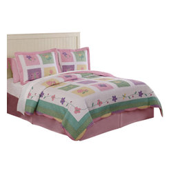 Pem America - Spring Meadow Twin Quilt with Pillow Sham - Spring Meadow is a classic look of butterflies and flowers in a checkerboard design.  Also features diamond edging and embroidered inlays. Hand crafted quilt set includes 1 twin quilt (68x86 inches) and 1 standard sham (20x26 inches). Face cloth is 100% natural cotton with 100% polyester fill. Includes one (1) standard sham 20 inches x 26 inches.