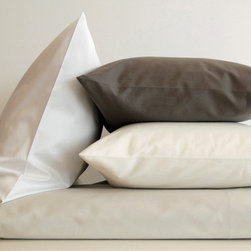 Area - Area Pearl Cement Organic Cotton Sateen Flat Sheet - The bed linens are from a company called Area out of New York. Their products are designed by Anki Spets, with carefully chosen colors, one of a kind patterns and subtle details to create unique options. All of the bedding is made from natural fibers, and materials and factories are carefully chosen from around the world to ensure quality goods that last.