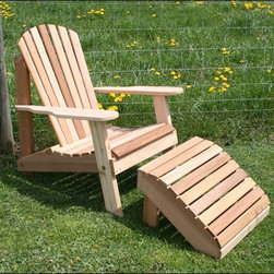 Fifthroom - Cedar American Forest Adirondack Chair & Footrest Set - A Cedar American Forest Adirondack Chair will feel at home in any landscape.  Add a matching foot rest, and you�ll never want to leave the comfort of its wide arm rests.  Group this set together with two or three like it, and you�ll have a casual conversation area perfect for lounging.  Add a stain/sealer to prolong its life and ensure the highest durability.