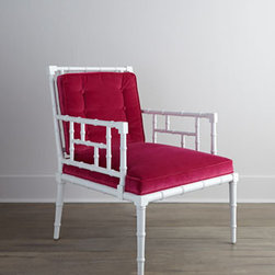 """Vanguard - Vanguard """"Primrose"""" Chair - Exclusively ours. We love the sparse look of this handcrafted chair and its bold juxtaposition of vibrant upholstery and classic white finish. Frame made of rubberwood. White lacquer finish. 28""""W x 30.5""""D x 35.5""""T; seat, 19""""T. Made in the USA. Bo..."""