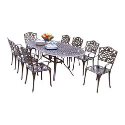 Oakland Living - 9 Pc Oval Dining Set, Antique Bronze - This 82 x 42 inches  dining set is the perfect piece for any outdoor dinner setting. Just the right size for any backyard or patio.