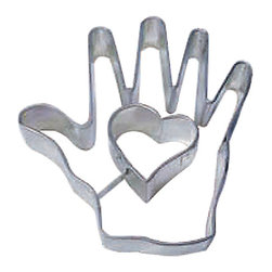 RM - Heart In Hand 4 In.  B1022 - Heart In Hand cookie cutter, made of sturdy tin, Size 4 in. tall, Depth 7/8 in., Color silver
