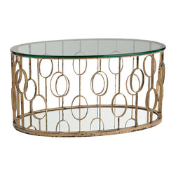 Kathy Kuo Home - Xena Oval Hollywood Regency Circle Gold Leaf Coffee Table - Evoking midcentury motifs and Hollywood glamor effortlessly, this seriously gorgeous cocktail table brings a little piece of vintage Palm Springs into any nostalgia inspired home.