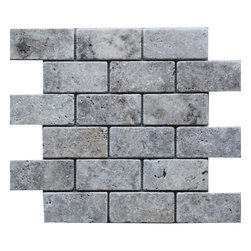 Scabos Tile - Silver 2x4 - Silver tumbled travertine 2x4 subway mosaic tile