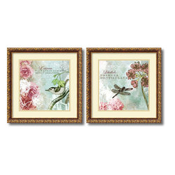 Amanti Art - Meringue 'Tiffany Nature- set of 2' Framed Art Print 18 x 18-inch Each - The mix of technical Latin and romantic French, old woodcut illustration and new floral art make this charming Tiffany Nature set by Meringue an effervescent combination.