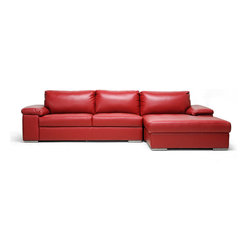 Baxton Studio - Dawson Red Leather Modern Sectional Sofa - It won't take long for the Dawson Contemporary Sectional Sofa to become the most loved piece of furniture in your home. This two-piece designer leather sofa features a wide chaise lounge next to a sofa that are able to be connected with a metal bracket. Made in China, the modern sectional sofa is crafted with a wooden frame, foam cushioning (secured to the frame; non-removable), and red bonded leather. Steel legs with non-marking feet add shine and polish. The Dawson sectional is fully assembled and should be wiped clean with a solvent of water and mild detergent immediately before being wiped dry.