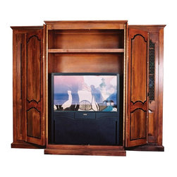 British Traditions - French 3-Section Entertainment Center w 3 Shelves in Side Sections (Wild Blueber - Finish: Wild Blueberry. Each finish is hand painted and actual finish color may differ from those show for this product. French 3-section entertainment center. 3 Adjustable shelves in side sections. 1 Adjustable shelf center section. Wrap doors standard on center section. Side sections ship in second box, will need to push sections together. Center cabinet: 46 in. W x 26 in. D x 77 in. H. 107 in. W x 29 in. D x 83.75 in. H (459 lbs.)The Parisian Entertainment Center is a beautifully rich, French piece. It has full-length paneled doors in the center to hold all your entertainment electronics. The end units have full-length doors as well, with framed wire windows at the top, and a lovely paneled insert at the bottom. It's a perfect piece for a family room or entertaining area. The door handles can not be changed - they lock to keep the doors closed.