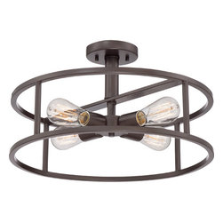 Quoizel - New Harbor Western Bronze Four Light Semi-Flush Mount - - Bulb Included  - Cord Length: 6 Inches Quoizel - NHR1718WT