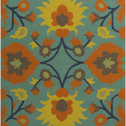 Surya - Surya Rain RAI-1147 (Green, Orange) 8' x 10' Rug - Rain or shine, these rugs look great outdoors! These hand hooked all weather rugs are manufactured to withstand the rigors of outdoor use. You don't need to worry about ruining your rug by spilling a drink or dropping food, just hose off and it's clean! The colors and designs we specially created to add to the outdoor ambiance.