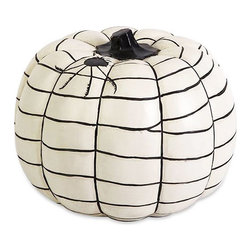 Charlotte's Black & White Pumpkin - Put something a little unexpected on your front porch or entryway table. Live on the wild side this year and switch out orange pumpkins and fall-hued gourds for Charlotte's Black & White Pumpkin. It's a little rock 'n roll and when seen from the curb, gives passersby the message: Somebody cool lives here.