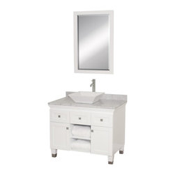 Wyndham Collection - Eco-Friendly Bathroom Vanity in White Finish - Includes natural stone counter, backsplash, one vessel sink and matching mirror. Faucets not included. Engineered to prevent warping and last a lifetime. Highly water-resistant low V.O.C. finish. 12 stage wood preparation, sanding, painting and finishing process. Floor standing vanity. Deep doweled drawers. Fully extending bottom mount drawer slides. Soft close concealed door hinges. Single hole faucet mount. Plenty of storage space. Brushed steel leg accents. Metal hardware with brushed chrome finish. Two doors and two drawers. White Carrera marble top. White porcelain sink. Made from zero emissions solid oak hardwood. Vanity: 36 in. W x 22.5 in. D x 36 in. H. Mirror: 24.25 in. W x 36.25 in. HCutting edge, unique transitional styling. A bridge between traditional and modern design, and part of the Wyndham Collection Designer Series by Christopher Grubb, the Premiere Single Vanity is at home in almost every bathroom decor, resulting in a timeless piece of bathroom furniture.