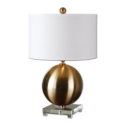 Uttermost - Laton Brass Sphere Table Lamp - Brushed Brass Plated Metal Accented With A Thick Crystal Foot. The Round Hardback Drum Shade Is An Off White Linen Fabric.