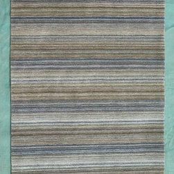 """Noble House - Fantasy Blue/Gray Rug - The prominence of stripe designs with a tie dye look and refreshing colors is the theme of this collection. Semi hand twisted fine imported yarn is used to give a textured feel which makes this collection sure to be the focal point in the room. Features: -Construction: Handmade. -Technique: Woven. -Material: Semi hand twisted wool. -Collection: Fantasy. -Shape: Rectangle. -Pile height: 0.08"""". Recommended Care: -Depending on amount of traffic on rugs, professional cleaning or washing is required every 1 to 2 years. -Do not expose rugs in direct sun light for longer time as it could result in faded colors of rugs. -Rugs should be vacuumed on regular basis to remove dust and dirt which would restore life to the fibers. Do not vacuum the fringes. Do not Vacuum Shaggy rugs as it will damage the rug. To clean the Shaggy rug, flip it over and shake well by hand. -To avoid spills setting deep and becoming stubborn, it is recommended to act immediately. When spills occur on rugs, put some water in the affected area to dilute, blot with clean white cloth or paper towel. Remove the moisture as much as possible by blotting with absorbent cloth or thick paper towel. Do not rub spills as could result in setting spills deeper in the affected area. Specifications: -Overall Dimensions: 96-132"""" H x 60-96"""" W x 0.08"""" D, 25 lbs."""