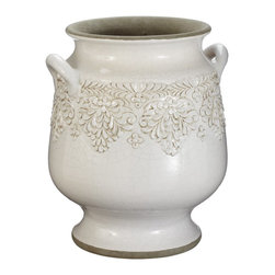 Lazy Susan - Lazy Susan 223047 Milk Vineyard Urn - Small - Made from terra-cotta and finished with a hand-applied milk white glaze, this urn features a floral motif and two side handles. Equally at home in a kitchen holding large utensils as it is perched in a sunroom with fresh or dried flowers, it's sure to become a favorite decorating accessory.