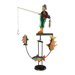 """Inviting Home - Fly Fisherman Balance Toy - fly fisherman balance toy; 14-1/4""""x 4""""x 21-1/4""""H; Fly Fisherman balance toy. Functioning skyhook replica of 18 and 19th C. classic seasonal accessories. - hand made from recycled metal sheet; - cut by hand using original templates; - hand painted in great details; - finished in aged patina waxed; - counterweight calibrated to create swing; - come with matching metal stand; Gadgets inspired by science were popular in Victorian times. People loved demonstrations of the seemingly impossible. Optical illusions magnetic forces the laws of gravity all seemed magical in an era when society was changing fast and industrial revolution was unstoppable. Skyhooks could be set on a shelf or the rim of the table and set in motion to everybody's delight and amazement."""