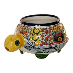 Mexican Talavera - Mexican Talavera Turtle Planter - Medium - Design A - Mexican Talavera Turtle Planter - Medium