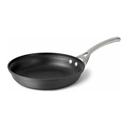 Calphalon Contemporary Nonstick 8 Inch Omelette Pan - Perfect flips  and no flops! Calphalon Contemporary Nonstick omelette pans feature a thick  flat  wide bottom for quick  even heating and cooking with little to no oils. The gently sloping sides and nonstick surface allow the omelet to glide freely  flip in one quick motion and slide easily from the pan to your plate. Plus  cleanup is easy. The rolled stainless steel Cool Touch handle conducts heat more slowly than cast iron handles  so it stays cool on the stove top. It's sure to bring out your sunny side.Product Features                                   Featuring a hard-anodized exterior and nonstick interior.             Versatile vessel shapes that accommodates several different cooking techniques.            Long handles that stay cool on the stovetop for hours of comfortable cooking.                     More Information                                   Material: Hard-anodized aluminum exterior  nonstick interior            Cover: N/A            Handle: Stay-cool stainless steel long handle            Oven Safe: To 450 degrees            Broiler Safe: No            Dishwasher Safe: No            Utensils: Nylon  wood  coated            Warranty: Lifetime