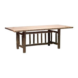 Fireside Lodge Furniture - Hickory Rectangular Log Dining Table (60 in. - Finish: 60 in. L - Rustic Alder in StandardHickory Collection. All dining tables are 30 in. tall. All Hickory Logs are bark on and kiln dried to a specific moisture content. Clear coat catalyzed lacquer finish for extra durability. 2-Year limited warranty. 60 in. L x 42 in. W x 30 in. H (145 lbs.). 72 in. L x 42 in. W x 30 in. H (165 lbs.). 84 in. L x 42 in. W x 30 in. H (195 lbs.). 96 in. L x 42 in. W x 30 in. H (220 lbs.). Assembly Instructions