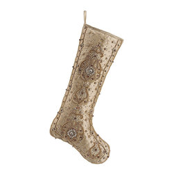 Frontgate - Silk Persian Jeweled Christmas Stocking - Hand-applied crystals, gems and beadwork. 100% silk face with polyester fabric backing. Coordinates beautifully with our Shades of Gold ornament and pre-decorated greenery collections. Spot clean. Our Silk Persian Jeweled Stocking delivers understated elegance in lustrous chestnut-colored silk. The face of the stocking shimmers with hand sewn with crystals, beads and gold threading.  .  .  .  . Imported.