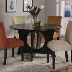 "5 PC Black Wood Dining Set 52""D Round Table Chairs Microfiber Seat - The smooth round table top shows off a radiant dark cappuccino finish, above a unique crossing pedestal base. The parson style chairs have high sleek curved chair backs and plush padded seats, covered in a soft and durable microfiber fabric. Gold ochre, terracotta, taupe, and light green upholstery sits above square tapered legs in a rich dark cappuccino finish."