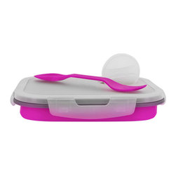 Smart Planet - Collapsible Eco Meal Kit - Small, Pink - Colorful and smart, these bento boxes will keep your food perfectly contained. Each Collapsible Eco Meal Kit features one inner compartment, condiment container, reusable utensil and snap lid. Expands for ample room, or collapse to half its size for space-saving storage. Either way, you'll be saving on valuable resources when you to choose to reuse!